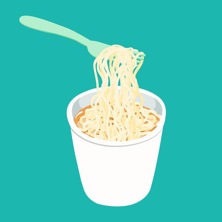 Instant noodle in cup with fork illustration vector