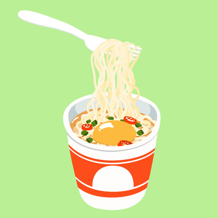 Instant noodle in cup add egg illustration vector Illustration