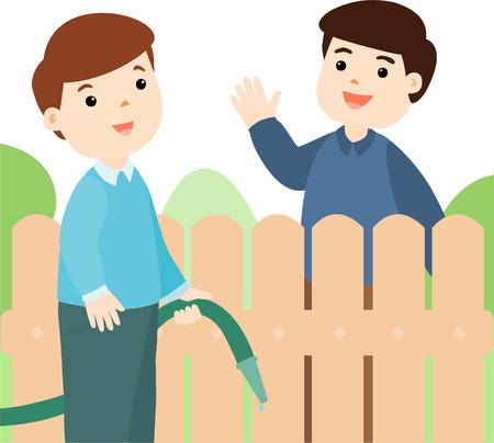 neighbor: Male neighbor friendly greeting vector illustration Illustration