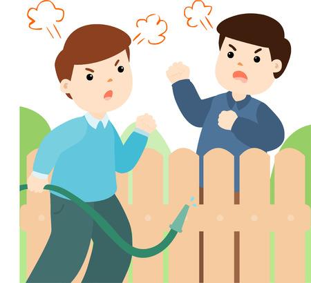 neighbor: Male neighbor fighting vector illustration