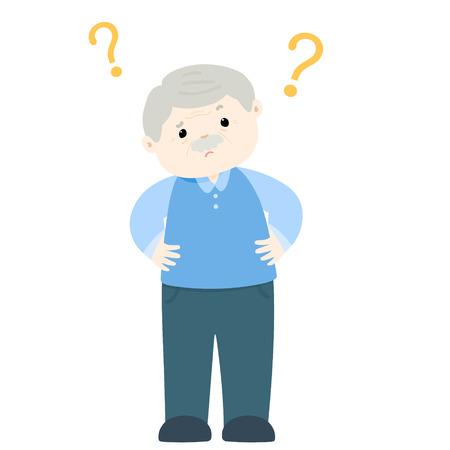 superannuated: Old man wondering cartoon character vector illustration