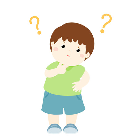 Cute little boy wondering cartoon character vector illustration