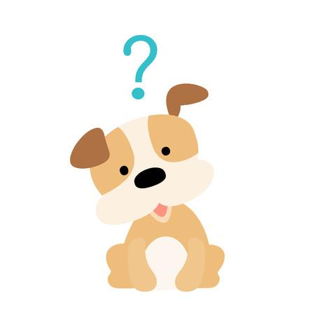 Cute little dog wondering cartoon character vector illustration Illustration