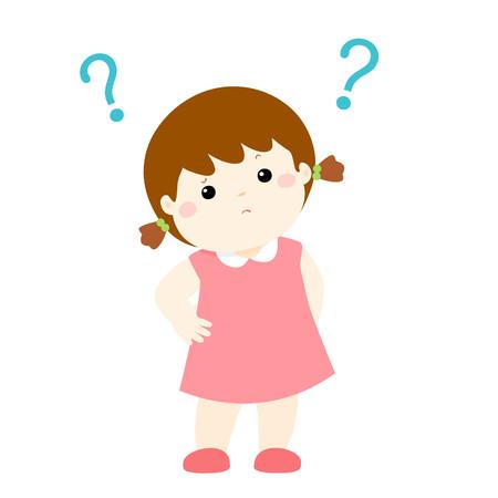 Cute little girl wondering cartoon character vector illustration