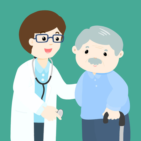 diseased: Grandfather character cartoon see doctor vector illustration