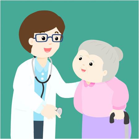 diseased: Grandmother character cartoon see doctor vector illustration