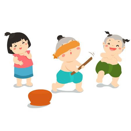 Children enjoy playing Blind fold Pot Hitting traditional game cartoon illustration