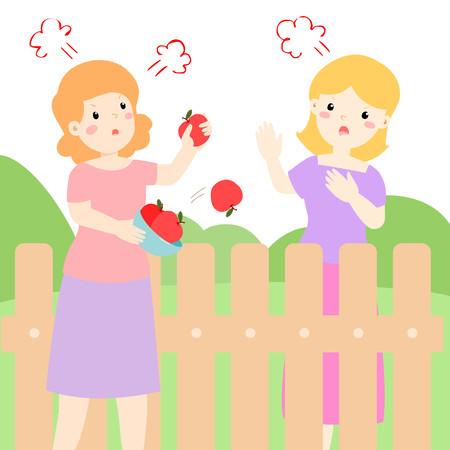 Female neighbor fighting vector illustration