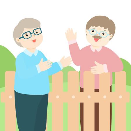 Senior male neighbor friendly greeting vector illustration