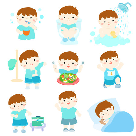 dewy: Healthy hygiene for boy take a bath,using the toilet,eat healthy food, dress up,wound healing,sleep and exercise vector illustration