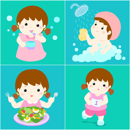 breezy: Happy girl do daily healthy routine brushing teeth, take a bath,eat healthy food and exercise vector illustration