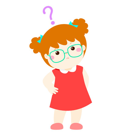 distrustful: Cute little girl copper hair wear glasses wondering cartoon character vector illustration Illustration