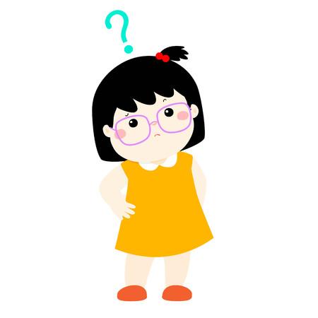 guess: Cute little girl black hair wear glasses wondering cartoon character vector illustration Illustration