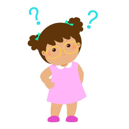 Cute little girl brown skin wear glasses wondering cartoon character vector illustration