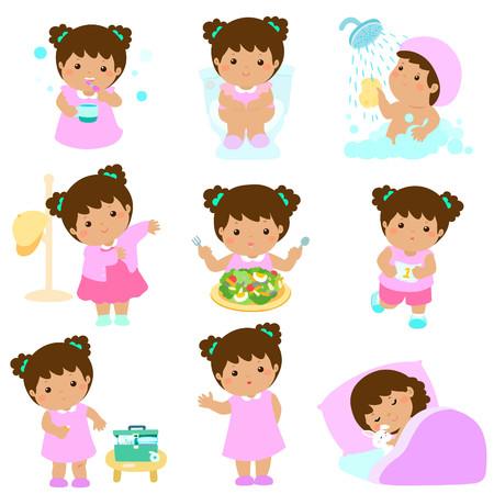 Les filles mignonnes en peau marron ont une hygiène saine, prennent un bain, utilisent les toilettes, mangent de la nourriture saine, s'habillent, cicatrisent, dorment et exercent une illustration vectorielle Banque d'images - 76638532