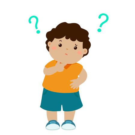 Lindo niño pequeño marrón piel que se pregunta personaje de dibujos animados ilustración vectorial