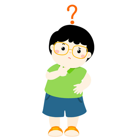 Cute little boy black hair wear glasses wondering cartoon character vector illustration Illustration