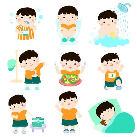 Cute chico de pelo negro tienen higiene sana tomar un baño, usando el baño, comer alimentos saludables, vestirse, curación de heridas, dormir y ejercicio ilustración vectorial