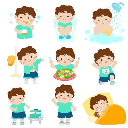 かわいい褐色の肌の少年がある健康な衛生風呂、トイレを使用して、健康食品を食べる, ドレスアップ, 創傷治癒、睡眠、運動ベクトル図