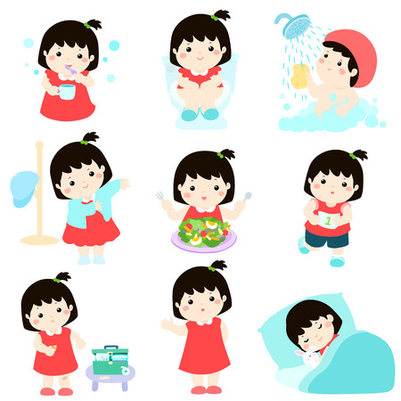 귀여운 검은 머리 소녀는 건강한 위생 목욕, 화장실을 사용하여, 건강 식품을 먹고, 상처 치유, 수면 및 운동 벡터 일러스트 레이션을 가지고 일러스트