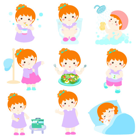 Cute copper hair girl have healthy hygiene take a bath,using the toilet,eat healthy food, dress up,wound healing,sleep and exercise vector illustration Иллюстрация