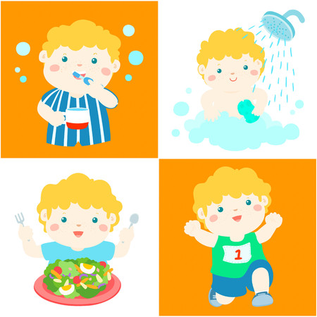breezy: Happy blonde hair boy do daily healthy routine brushing teeth, take a bath,eat healthy food and exercise vector illustration