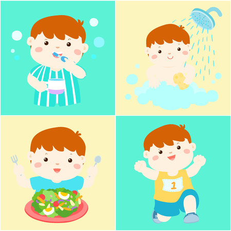 breezy: Happy copper hair boy do daily healthy routine brushing teeth, take a bath,eat healthy food and exercise vector illustration
