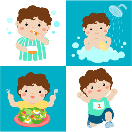Happy brown skin boy do daily healthy routine brushing teeth, take a bath,eat healthy food and exercise vector illustration