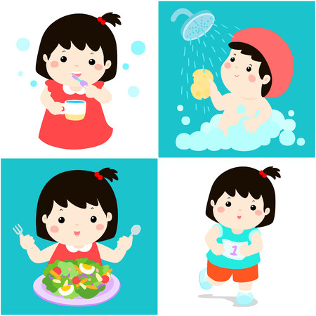 Happy black hair girl do daily healthy routine brushing teeth, take a bath,eat healthy food and exercise vector illustration