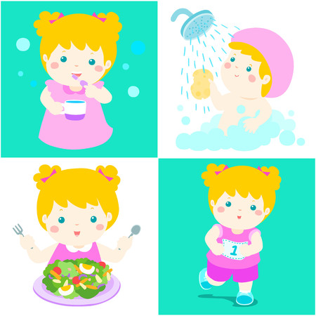 Happy blonde hair girl do daily healthy routine brushing teeth, take a bath,eat healthy food and exercise vector illustration