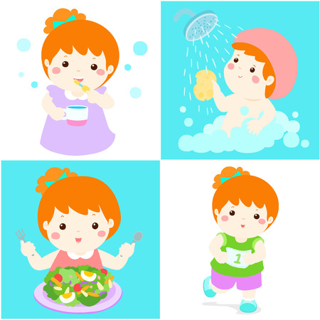 breezy: Happy copper hair girl do daily healthy routine brushing teeth, take a bath,eat healthy food and exercise vector illustration Illustration
