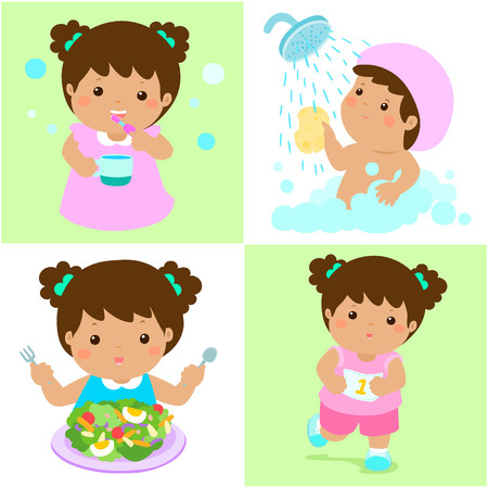 dewy: Happy brown skin girl do daily healthy routine brushing teeth, take a bath,eat healthy food and exercise vector illustration Illustration