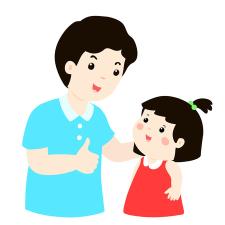 Dad admire his daughter character cartoon vector illustration