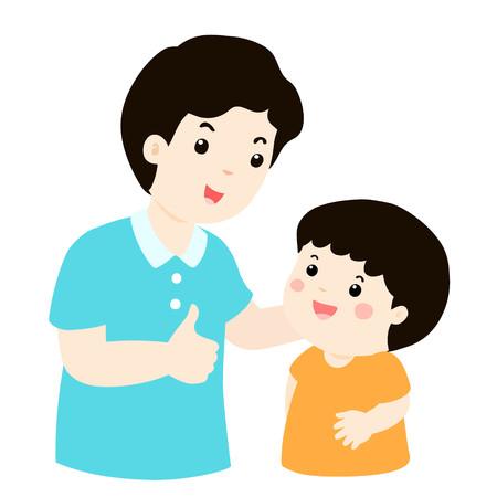Dad admire his son character cartoon vector illustration