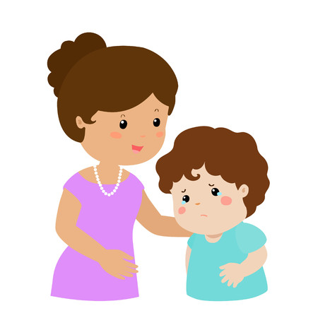 kind mom soothes crying son vector illustration
