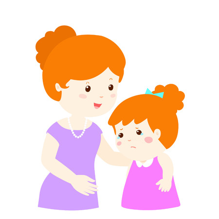 kind mom soothes crying daughter vector illustration