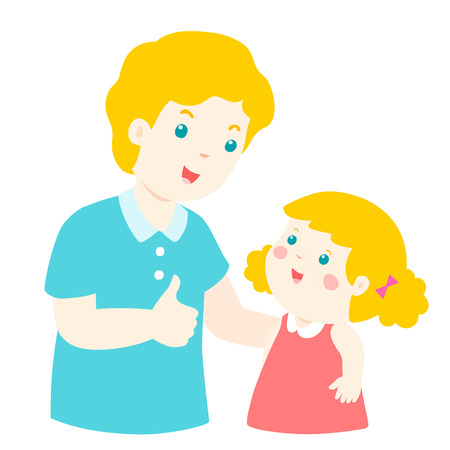 Dad admire daughter character cartoon vector illustration Illustration