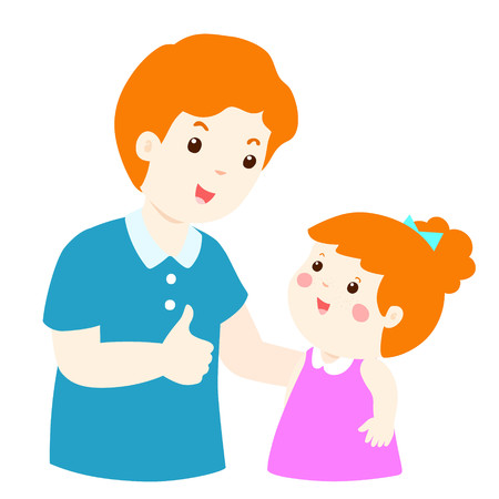 Dad admire daughter character cartoon vector illustration Illustration