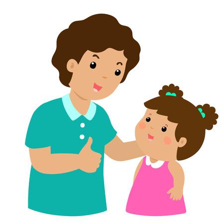 Dad admire daughter character cartoon vector illustration 向量圖像