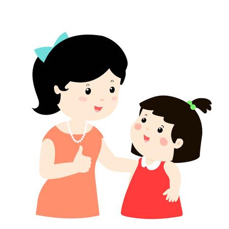 Mother admire daughter character cartoon vector illustration