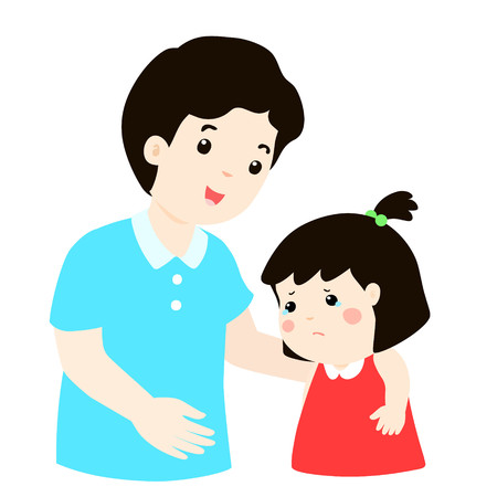 kind dad soothes crying son vector illustration