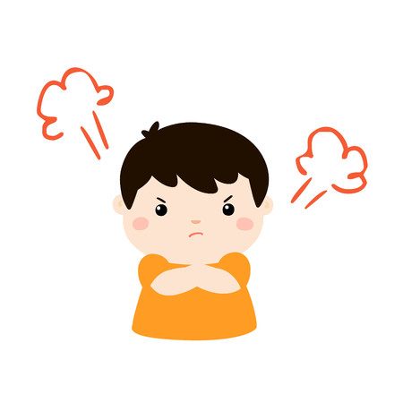 Cute cartoon angry boy character vector illustration.