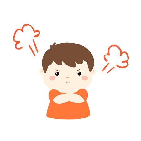 Cute cartoon angry boy character vector illustration.