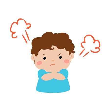かわいい漫画怒っている少年キャラ ベクトル イラスト。