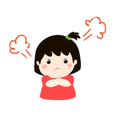 Cute cartoon angry girl character vector illustration.