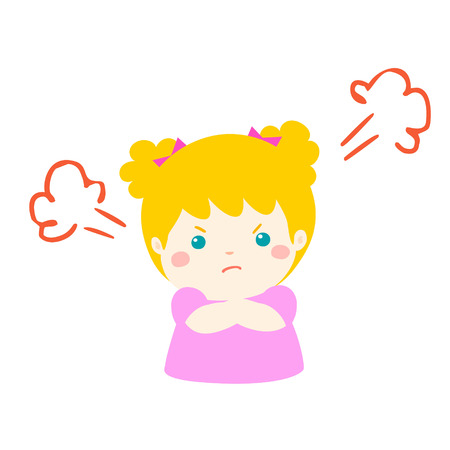 Cute cartoon angry girl character vector illustration.