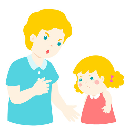 sad little girl: Father angry at his daughter and blame her.Dad scolds children vector illustration. Illustration