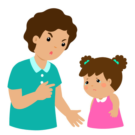 Father angry at his daughter and blame her.Dad scolds children vector illustration. Illustration