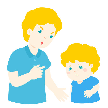 Father angry at his son and blame him.Dad scolds children vector illustration.