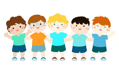Happy character cartoon boy variety nationality full body vector illustration.